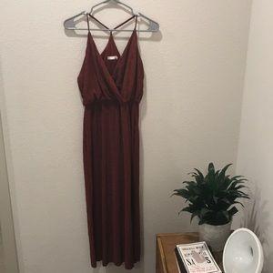 Razorback rust red midi dress